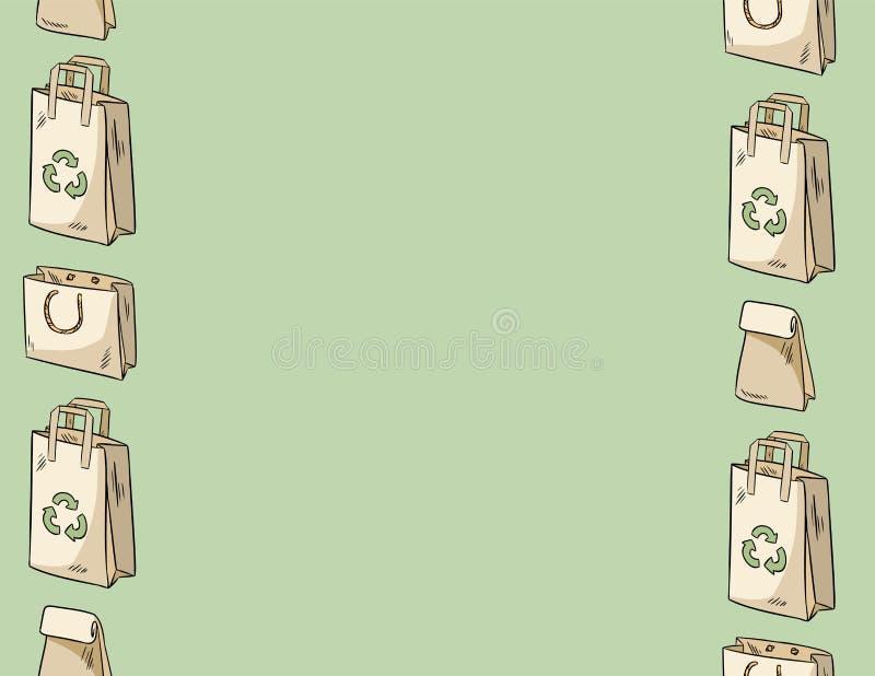 Używa mniej plastikowego papierowych toreb bezszwowego wzoru Listowy szablon Ekologiczny i odpady E ilustracji