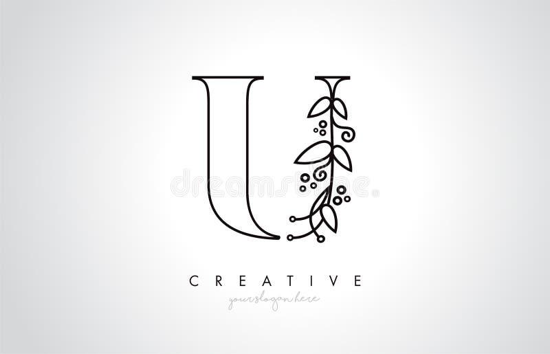U与有机组合图案厂叶子细节和圈子设计的信件商标 创造性的信件象 库存例证