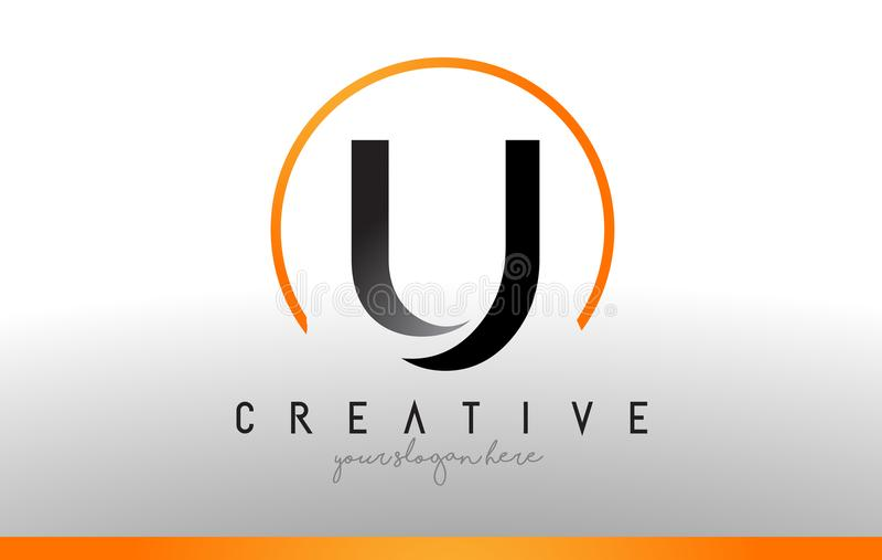 U信件与黑橙色颜色的商标设计 凉快的现代象T 库存例证