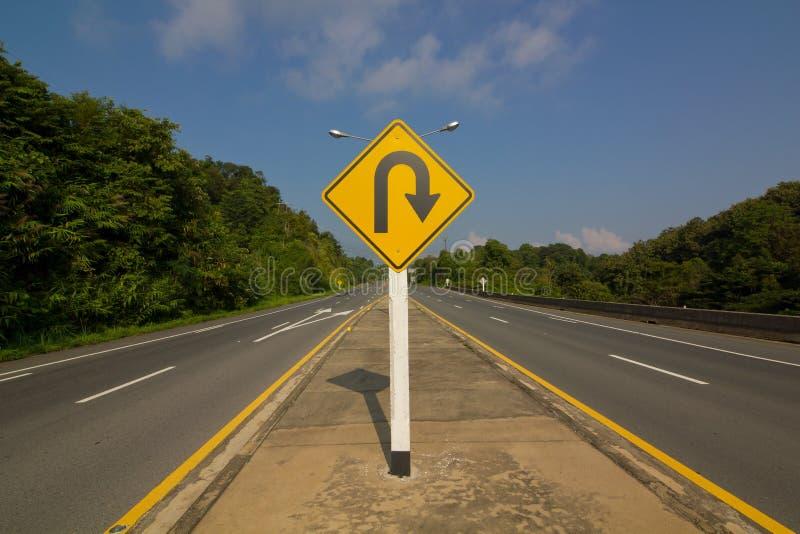 U字型转向Roadsign 免版税库存照片