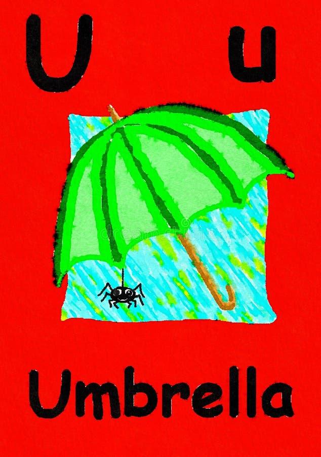 U é para o guarda-chuva Aprenda o alfabeto e a soletração ilustração do vetor