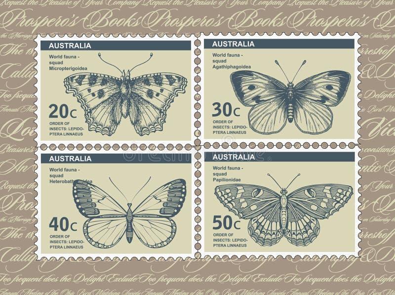 u γραμματοσήμων ταχυδρομικών τελών s Πεταλούδα, σκώρος που απομονώνεται Έντομο ρεαλιστικό πανίδα κάρτα Χάραξη, φύση σχεδίων καθορ διανυσματική απεικόνιση