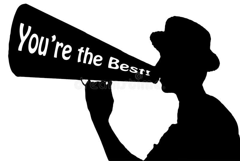U ` aangaande de Beste Omroeper van de Appreciatieviering met Megafoon royalty-vrije stock afbeelding