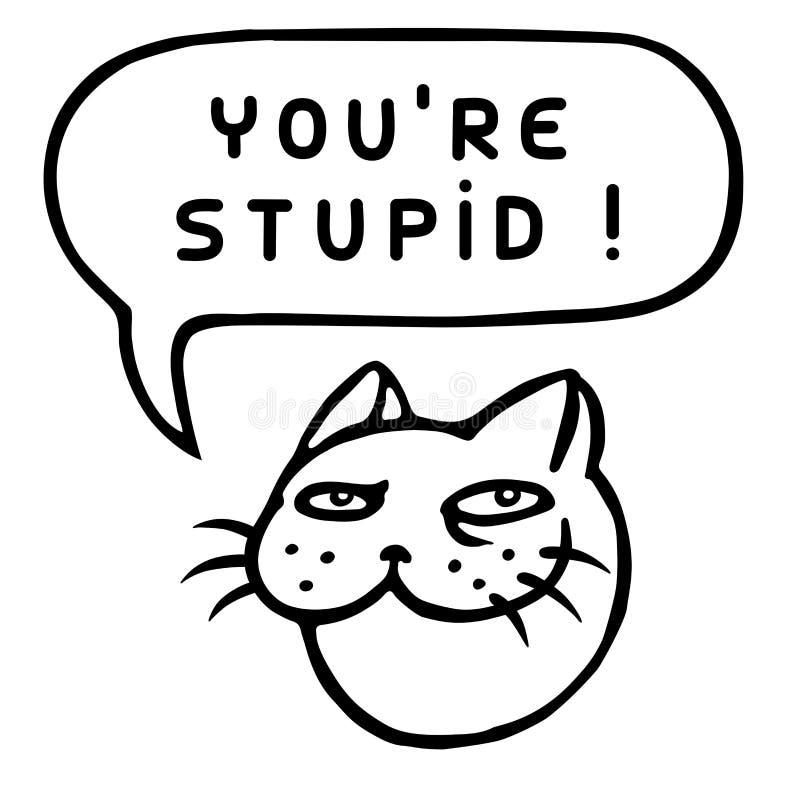 U ` aangaande Stom! Beeldverhaal Cat Head De Bel van de toespraak Vector illustratie royalty-vrije illustratie