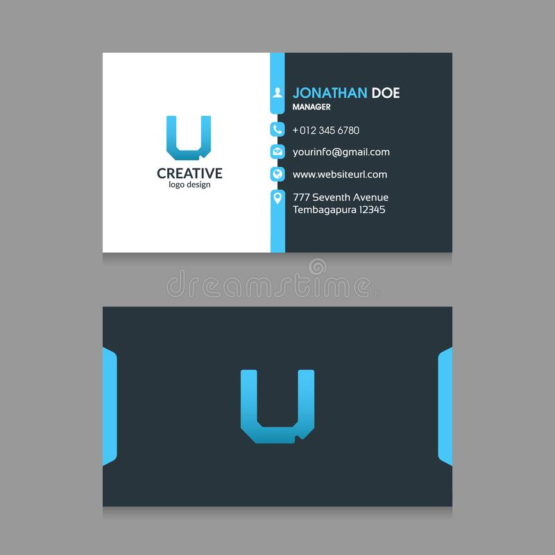U Abstract Letter logo with Modern Corporate Business Card design Template VectorN stock illustration