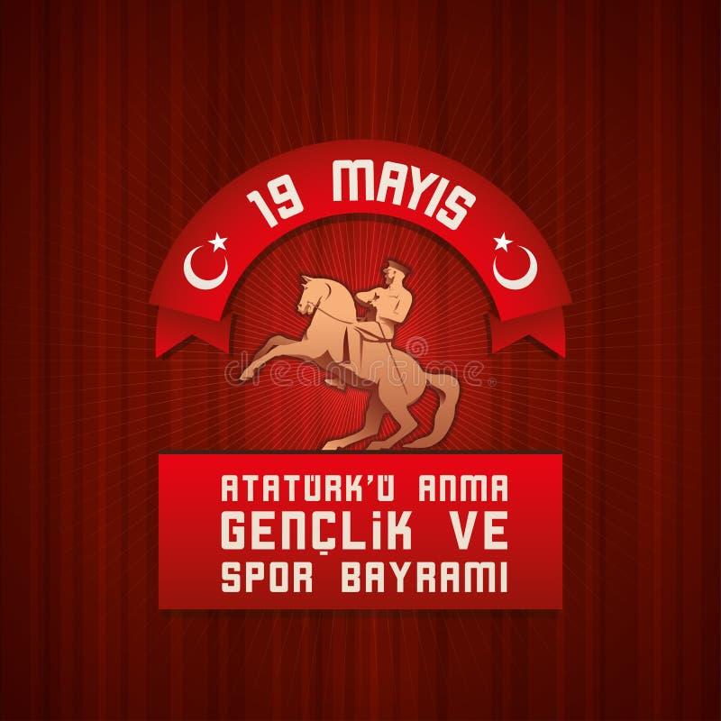 ` u Anma Genclik VE Spor Bayrami d'Ataturk de 19 mayis illustration libre de droits