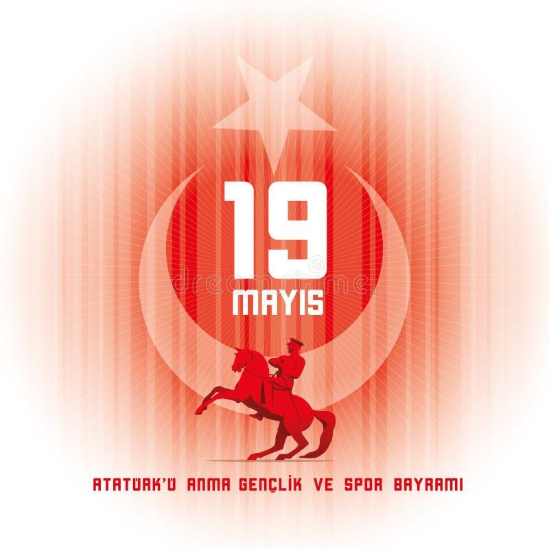 ` u Anma Genclik VE Spor Bayrami d'Ataturk de 19 mayis illustration de vecteur