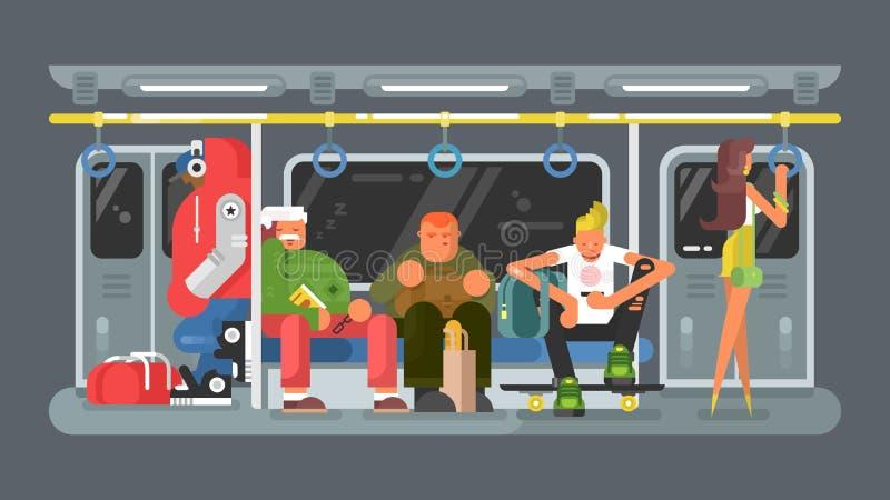 U-Bahn mit flachem Design der Leute lizenzfreie abbildung