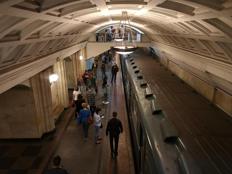 U-Bahnbahnhof Russlands Moskau metro Sch?ne Stadt lizenzfreies stockfoto