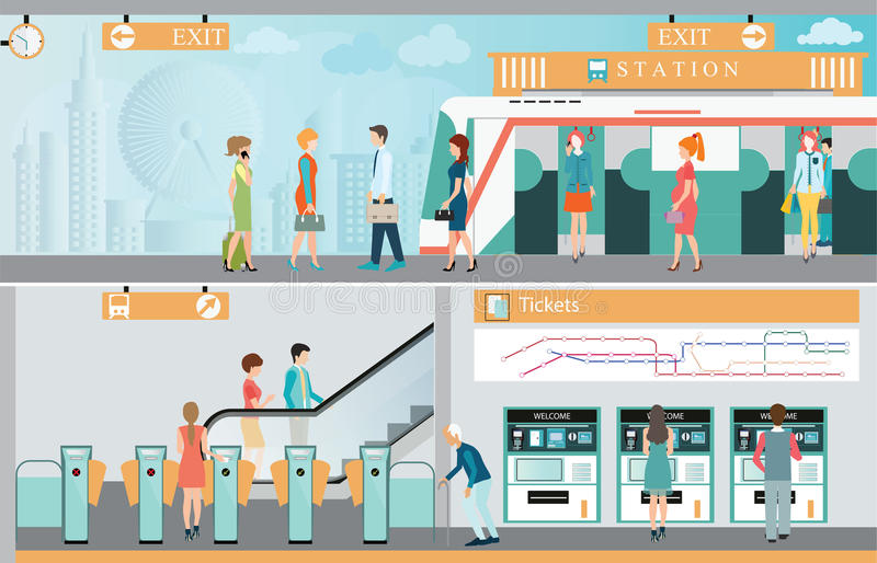 U-Bahnbahnstationsplattform mit dem Leutereisen vektor abbildung