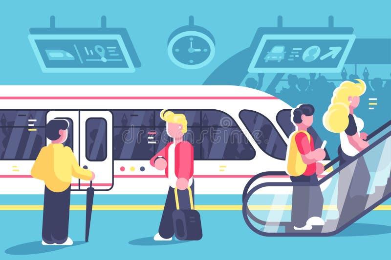 U-Bahninnenraum mit Leutezug und -rolltreppe lizenzfreie abbildung
