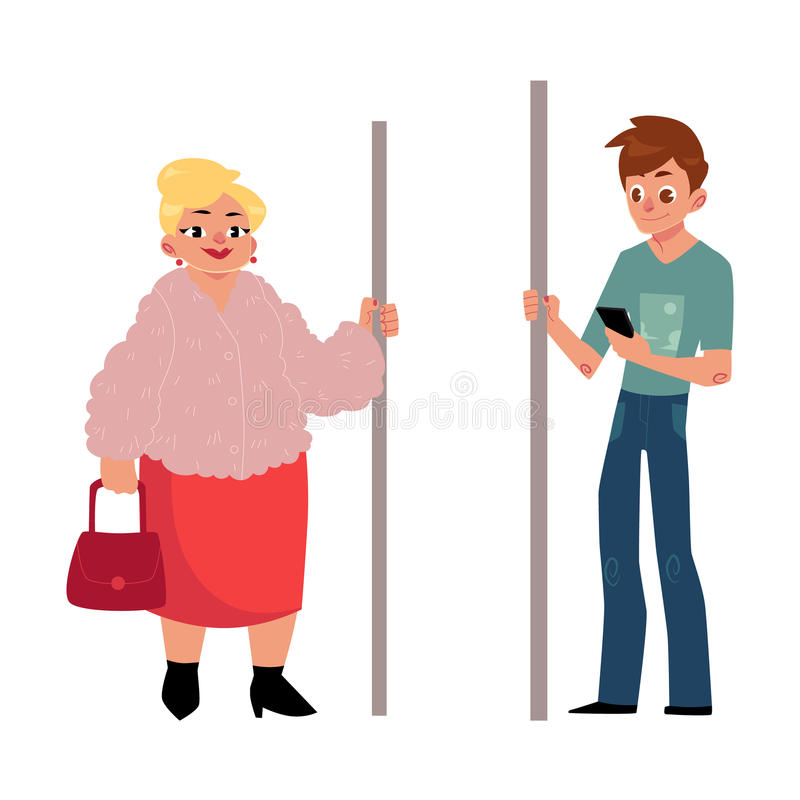 U-Bahnpassagiere - pralle Frau, Hausfrau und junger Mann mit Smartphone vektor abbildung