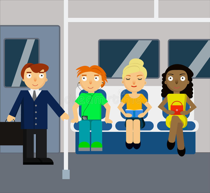 U-Bahnszene mit Menge
