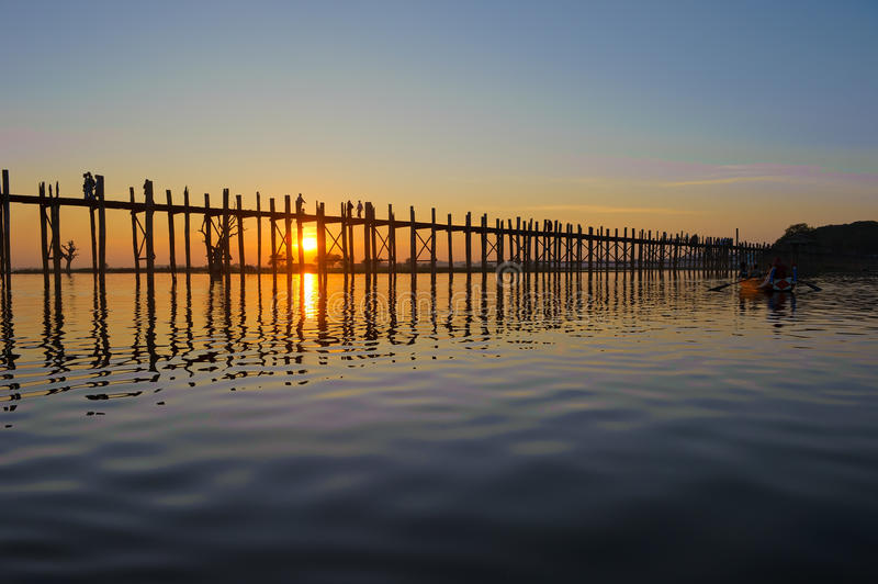 U Bein bridge, Mandalay, Myanmar royalty free stock image