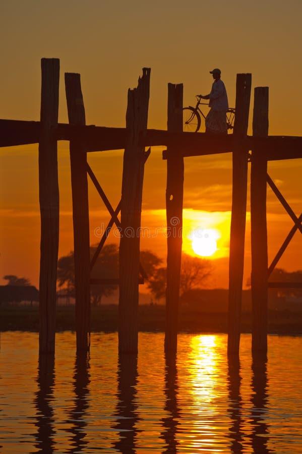 U Bein bridge, Mandalay, Myanmar. U Bein (U Bain) bridge, Mandalay, Myanmar stock photos