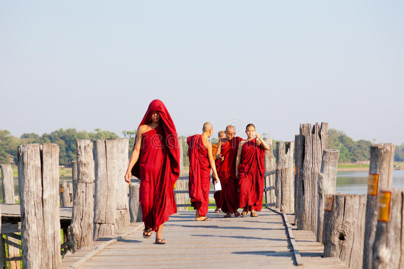 U Bein Bridge, Mandalay, Myanmar royalty free stock images