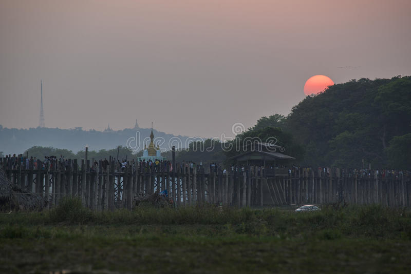 U-Bein Bridge, Mandalay, Myanmar. U-Bein Bridge, world longest teakwood bridge, Mandalay, Myanmar stock photography