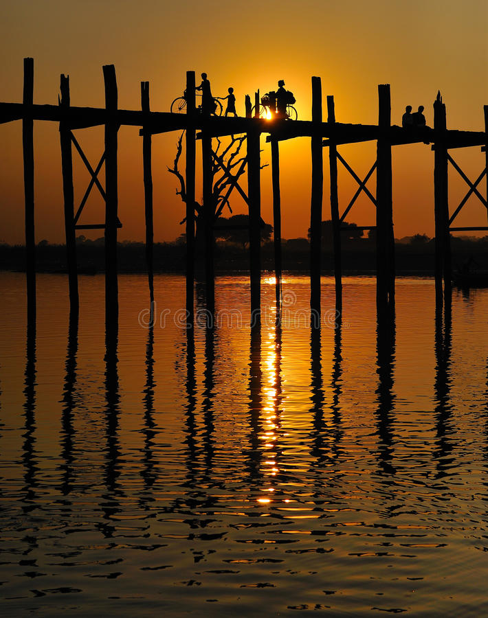 Download U bein bridge in myanmar stock image. Image of crossing - 12751823