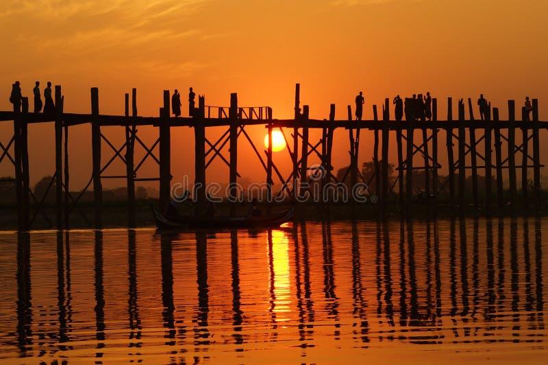 U Bein Bridge At Sunset In Amarapura Near Mandalay Stock Photo