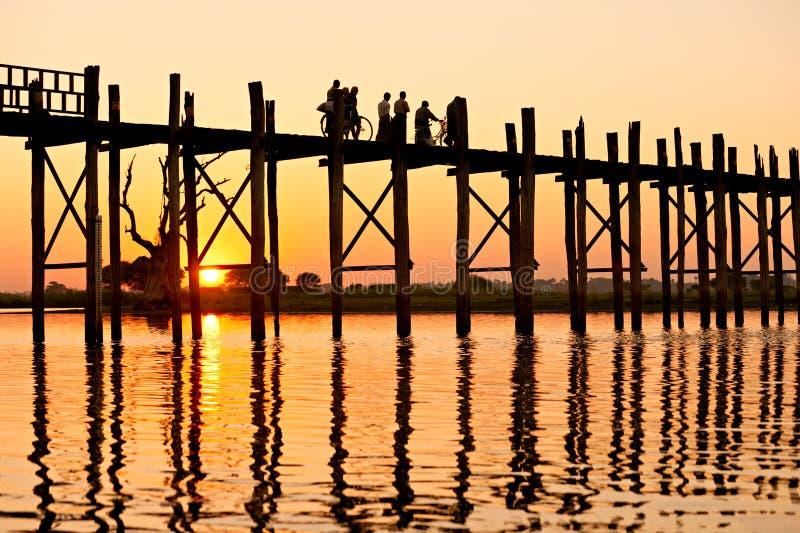 U bein brug, Amarapura, Mandalay, Myanmar. royalty-vrije stock foto's
