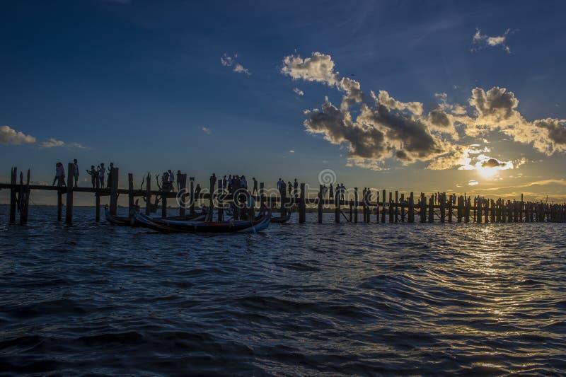 U Bein most Myanmar zdjęcie royalty free