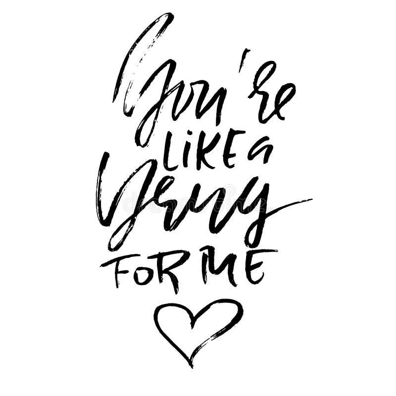 U bent als een drug voor me Handdrawn kalligrafie voor Valentine-dag Inktillustratie Het moderne droge borstel van letters voorzi royalty-vrije illustratie