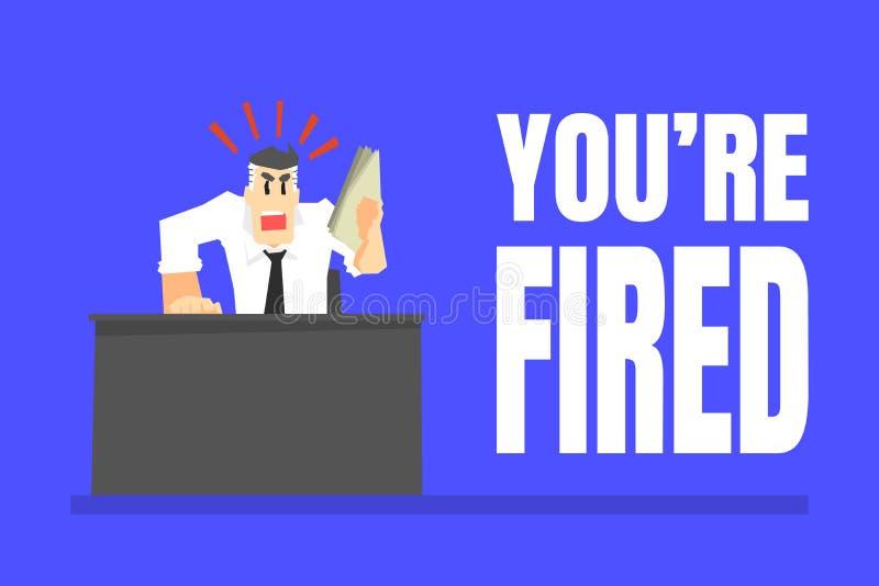 U bent In brand gestoken Banner, Boze Chef- Office Character Dismissing-Arbeiders Vectorillustratie stock illustratie