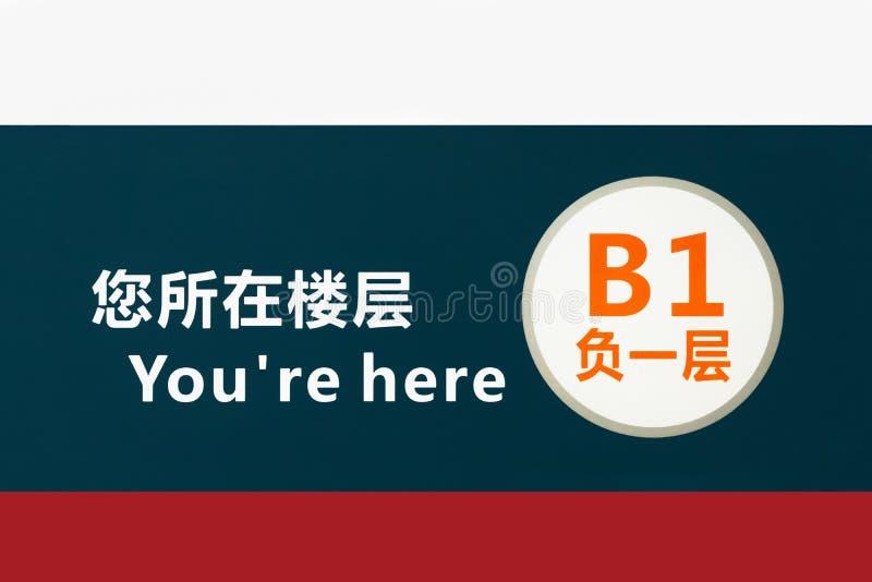 U bent hier Uw Uithangbord van het vloeraantal in de bouw, China royalty-vrije stock foto