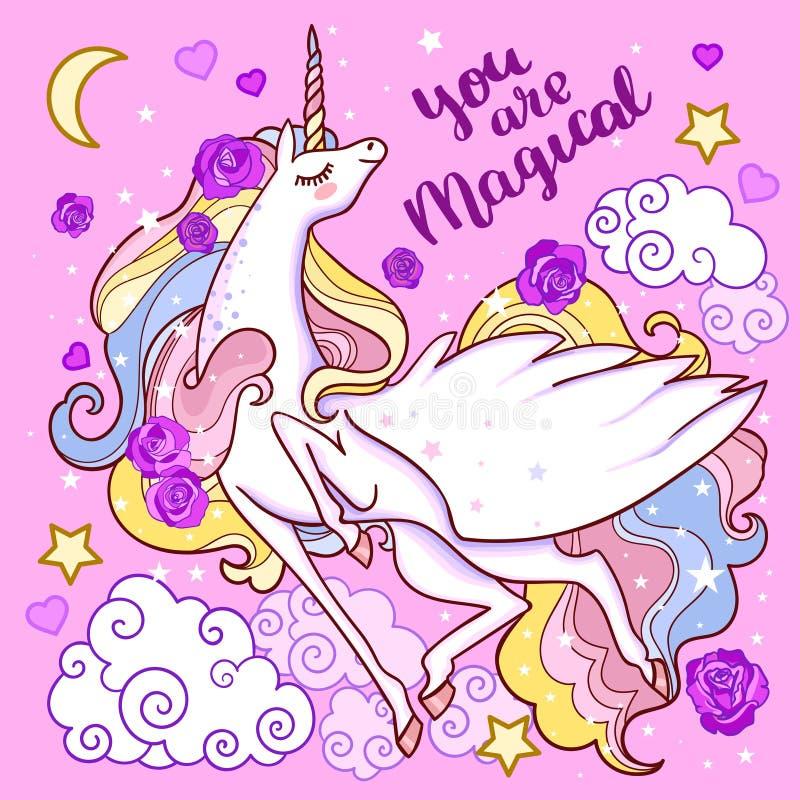 U bent magische Mooie witte eenhoorn op een roze achtergrond Vector royalty-vrije illustratie