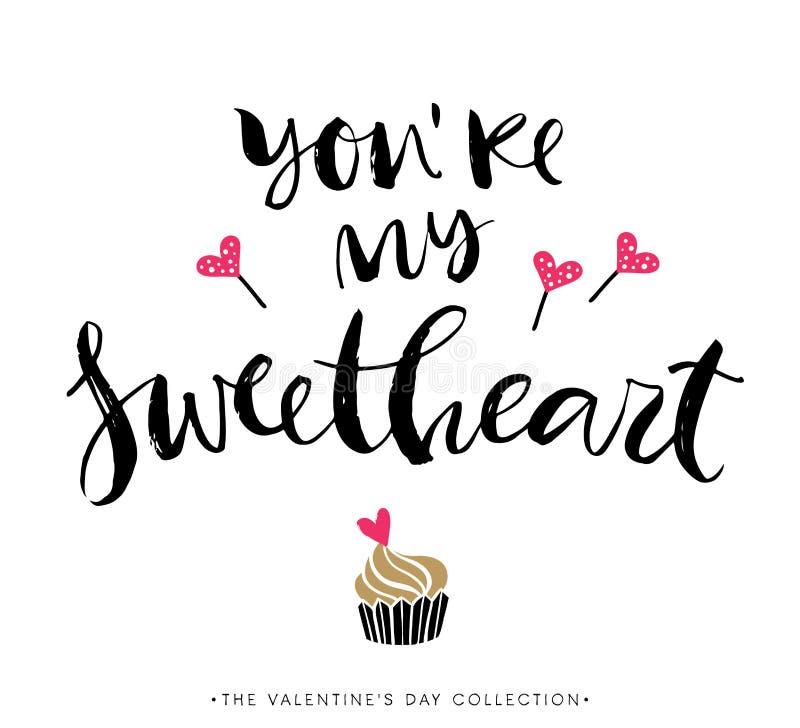 U bent Mijn Liefje De Kaart van de Groet van de Dag van valentijnskaarten stock illustratie
