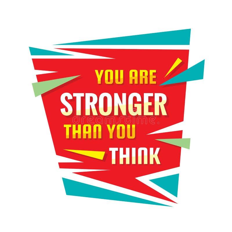 U bent sterker dan u - conceptueel citaat denkt De abstracte illustratie van de conceptenbanner Affiche van de vertrouwens de vec stock illustratie