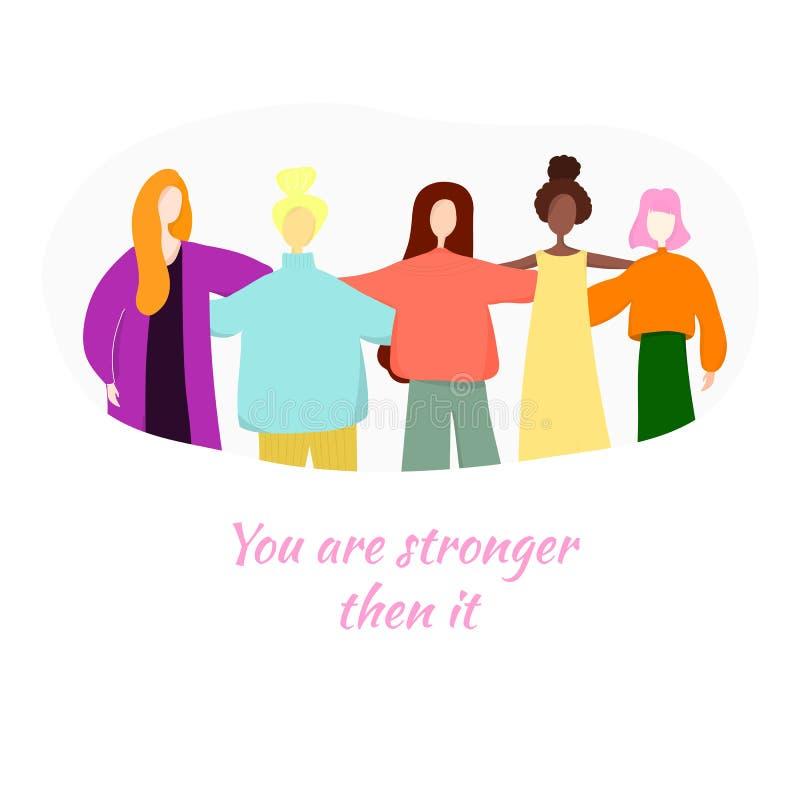 U bent sterker toen het Een groep vrouwen die zich en handen verenigen houden vector illustratie