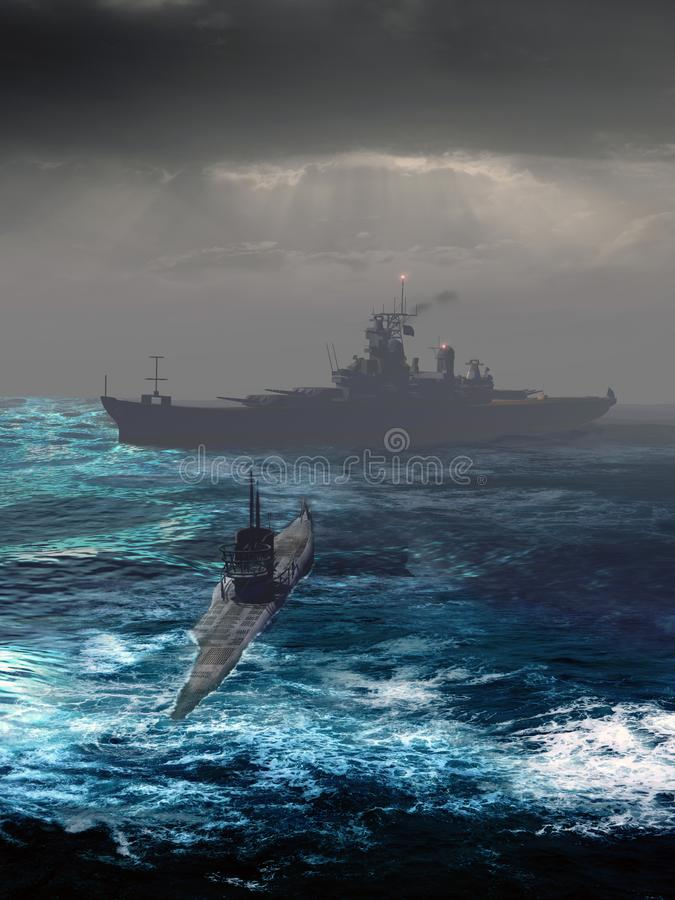 U-boot Submarine Approach stock illustration