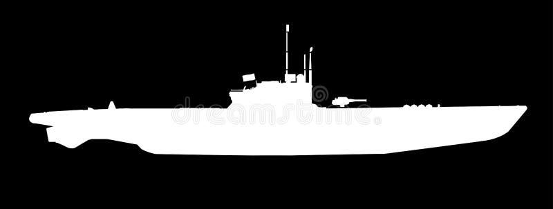 U Boot in Wit Silhouet vector illustratie