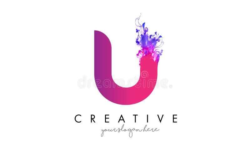 U Brief Logo Design met de Stromende Textuur van de Inktwolk royalty-vrije illustratie
