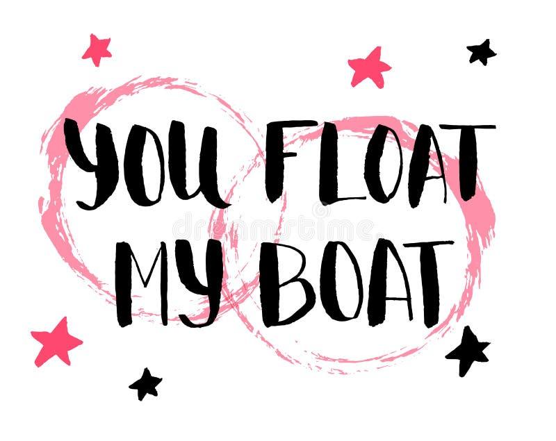 U drijft mijn boot Hand getrokken kalligrafiecitaat met rode sterren De vectorillustratie van de valentijnskaartendag vector illustratie