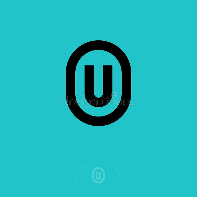 U flat monogram. Universal line emblem. U letter in rounded badge. Flat linear style. royalty free illustration