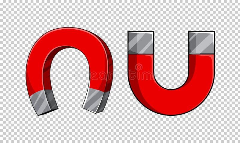 U-formiga magneter på genomskinlig bakgrund vektor illustrationer