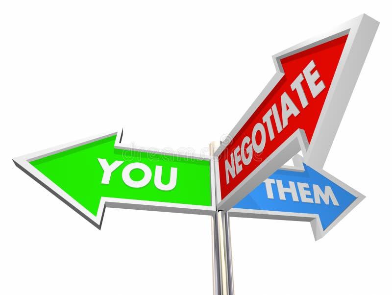 U hen bespreekt Tekens de Met drie richtingen van de Compromisregeling vector illustratie