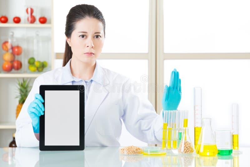U kunt de informatie ontdekken van het genetische modificatievoedsel over intern royalty-vrije stock foto