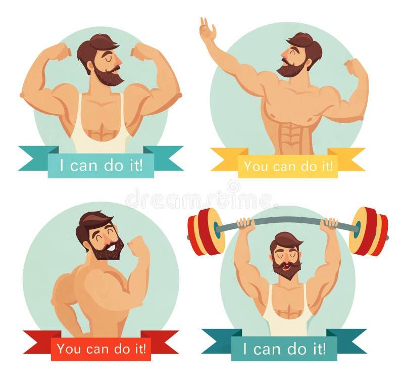 U kunt het doen motieven en inspirational affichereeks Gymnastiek, het bodybuilding, conceptenbeeld, baard stock illustratie