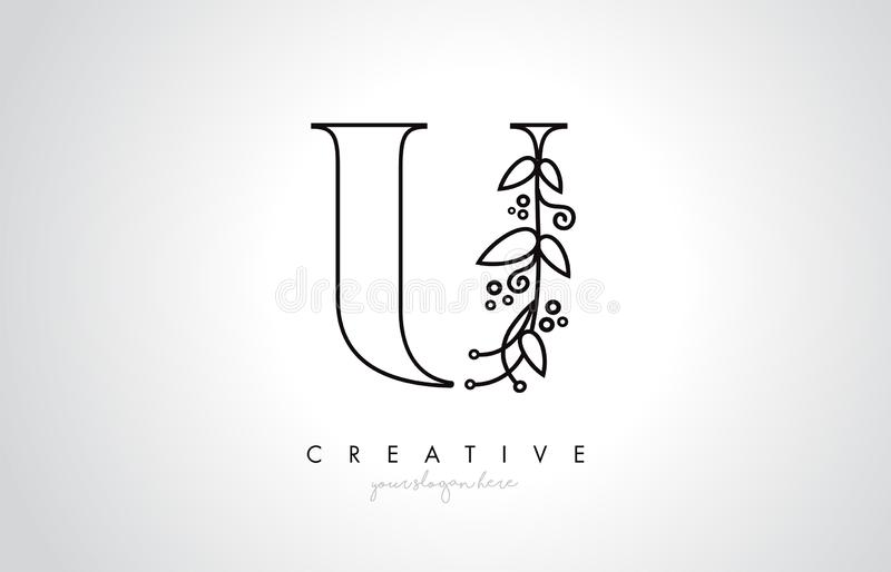 U Letter Logo With Organic Monogram Plant Leafs Detail and Circle Design. Creative Letter Icon. Logo stock illustration