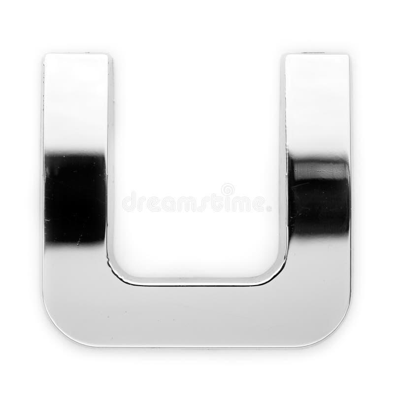 U - Lettera del metallo fotografia stock
