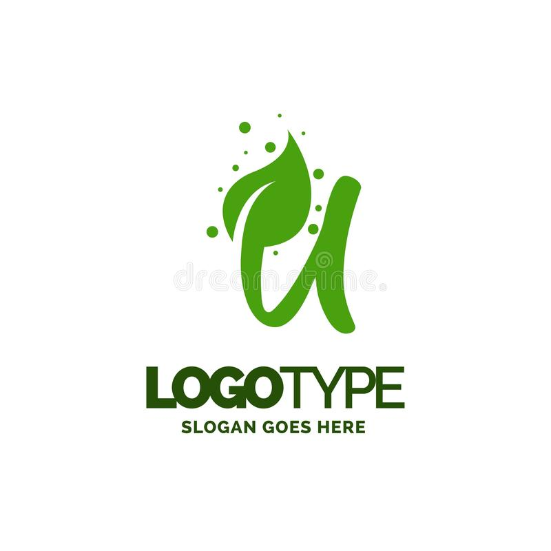U logo with Leaf Element. Nature Leaf logo designs, Simple leaf. Logo symbol. Natural, eco food. Organic food badges in vector. Vector logos. Natural logos with vector illustration