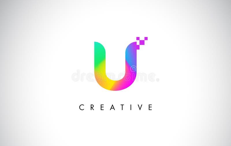U Logo Letter Design Vetora colorido Inclinação criativo do arco-íris ilustração stock