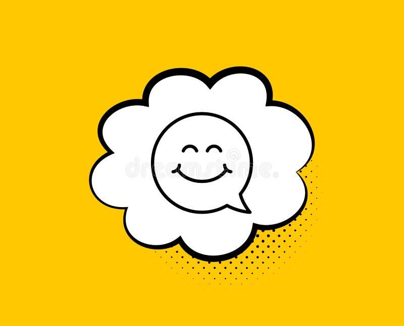 U?miech twarzy linii ikona Szcz??liwy emoticon gadki znak b?bla graficznej osoby mowy target14_0_ wektor wektor ilustracji