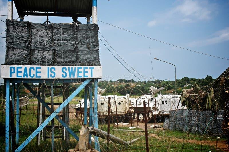 U.N. Controlepost in Liberia royalty-vrije stock fotografie