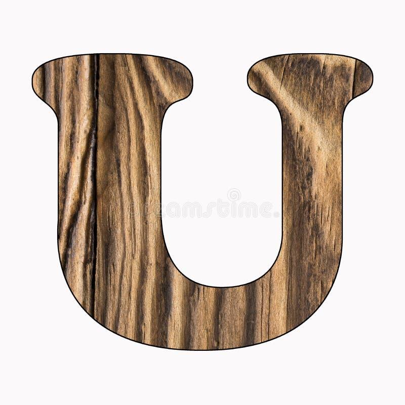 U, Nieociosany drewniany abecadło list na białym tle Vista przełożony obrazy stock