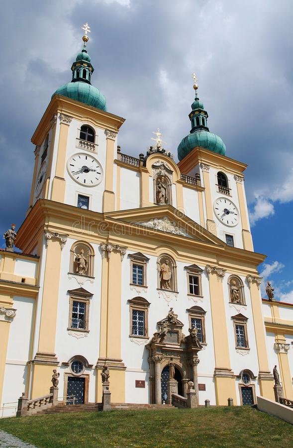 U Olomouce Svaty kopecek - μπαρόκ καθεδρικός ναός στοκ εικόνες