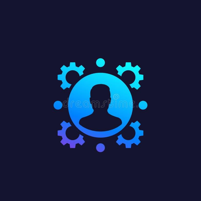 U, personeel, het vectorpictogram van het personeelsbeheer stock illustratie
